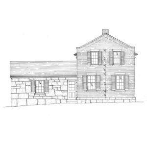 Line art of Hopwood House featuring brick wall, window casing with shutters, and door casing with window casing and panel molds.