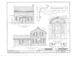 Blueprint of Hopwood House west elevation,north elevation, and west main entrance elevation featuring window casing, and door panel molds.