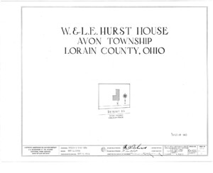 Blueprint cover page by the American Building Survey describing the Hurst House erection date, address, and architect information.