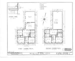Blueprint of Hurst House first floor plan, and second floor plan.