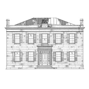 Line art of Hurst House showcasing all brick walls, steps to entrance, door casing with window casing and windows with shutters.