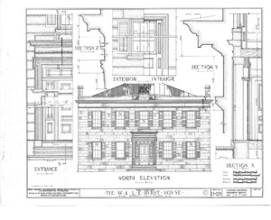 Blueprint of Hurst House north elevation featuring entrance with panel molds, all brick walls, and steps to entrance.