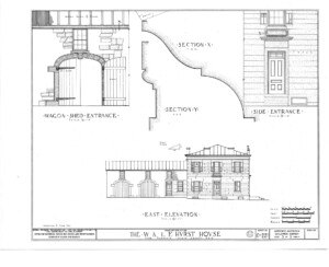 Blueprint of Hurst House east elevation featuring wagon shed entrance, and the side entrance of Hurst House.