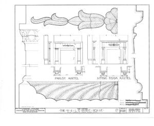 Blueprint of Hurst House parlor mantel, and sitting room mantel.