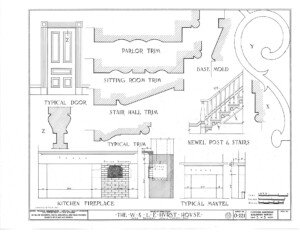 Blueprint of Hurst House typical door and kitchen fireplace featuring parlor trim, sitting room trim, stair hall trim, and typical trim.