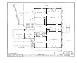 Blueprint of Iddings House first floor plan.
