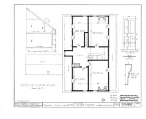 Blueprint of Iddings House second floor plan.