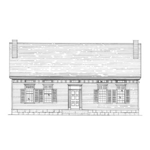 Line art of Iddings House featuring windows with shutters, and front door with panel molds, and two chimneys.