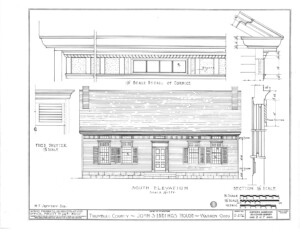 Blueprint of Iddings House south elevation featuring windows with shutters, and front door with panel molds, and two chimneys.