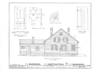 Blueprint of Iddings House west elevation featuring windows with shutters, and front door with panel molds, and three chimneys.