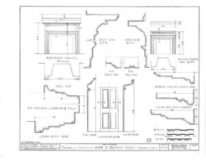 Blueprint of Iddings House bedroom mantel featuring living room doorway.