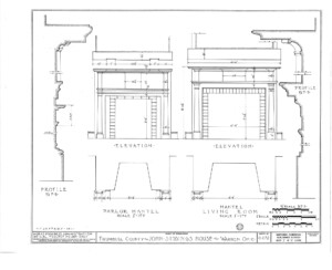 Blueprint of Iddings House parlor mantel, living room mantel, and mantel moulding profiles.