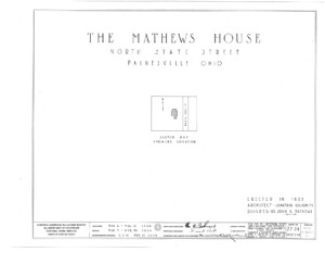 Blueprint cover page by the American Building Survey describing the John Mathews House erection date, address, and architect information.