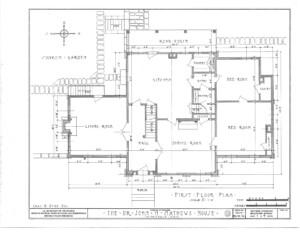 Blueprint of John Mathews House first floor plan.
