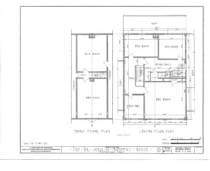 Blueprint of John Mathews House second floor plan, and third floor plan.