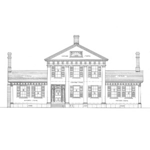 Line art of John Mathews House with windows with shutters, large columns in front, stairway to front door, and doorway mouldings with column detail.