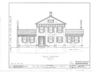 Blueprint of John Mathews House front elevation.