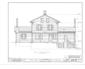 Blueprint of John Mathews House rear west elevation.