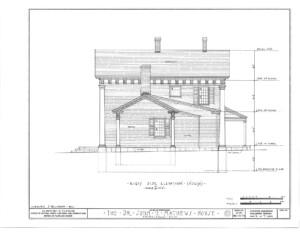 Blueprint of John Mathews House north side elevation.