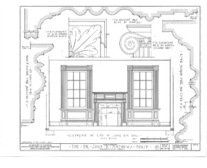 Blueprint of John Mathews House end of living room elevation featuring window casing mouldings, and fireplace mantel mouldings.