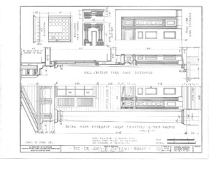 Blueprint of John Mathews House wall section through main entrance, and details of main entrance featuring pilasters, and cornices.