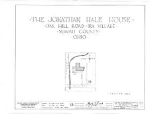 Blueprint cover page by the American Building Survey describing the Jonathan Hale House erection date, address, and architect information.