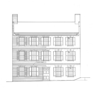 Line art of Jonathan Hale House featuring windows with shutters, two chimneys on opposite sides of roof, and door casing with panel molds.