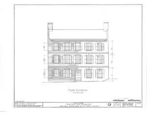 Blueprint of Jonathan Hale House front elevation featuring windows with shutters, and door casing with panel molds.