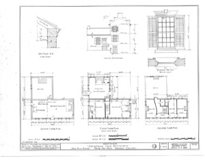 Blueprint of Jonathan Hale House ground floor, first floor, second floor, south elevation, and typical windows elevation.
