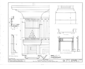 Blueprint of Jonathan Hale House fireplace mantel featuring panel molds, mantel mouldings, and column detail.