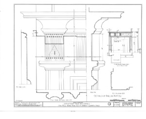 Blueprint of Jonathan Hale House mantel featuring panel molds, fireplace mantel mouldings, and column detail.
