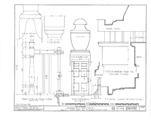 Blueprint of Jonathan Hale House front door detail, and staircase detail featuring baulsers, newel cap, and door panel molds.