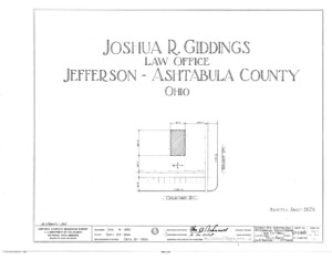 Blueprint cover page by the American Building Survey describing the Joshua R Giddings law office erection date, address, and architect information.