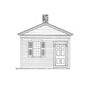 Line art of Joshua R Giddings Law Office featuring shingle siding, door mouldings with panel molds, and windows with shutters.