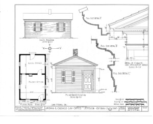 Blueprint of Joshua R Giddings law office front west elevation, south elevation, and floor plan.
