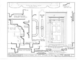 Blueprint of Joshua R Giddings law office elevation of entrance.