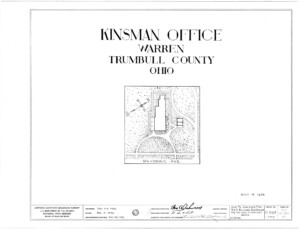 Blueprint cover page by the American Building Survey describing the Frederick Kinsman Office erection date, address, and architect information.
