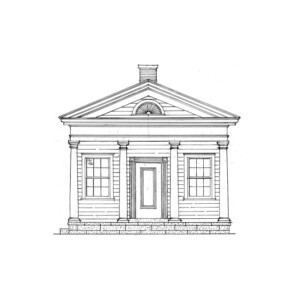 Line art of Frederick Kinsman Office featuring covered porch with columns, window mouldings, and doorway with panel molds.