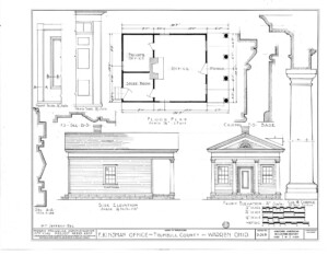 Blueprint of Frederick Kinsman Office side elevation featuring floor plan.