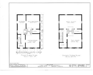 Blueprint of Lew Lawyer House first floor plan, and second floor plan.