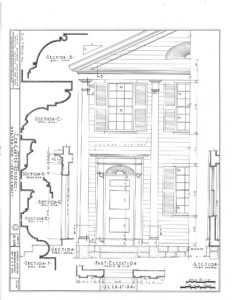 Blueprint of Lew Lawyer House half of house featuring column mouldings, and door casing mouldings with panel molds.