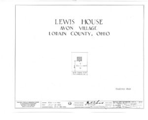 Blueprint cover page by the American Building Survey describing the Lewis House erection date, address, and architect information.