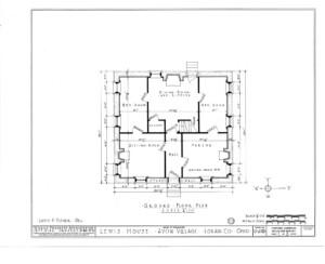 Blueprint of Lewis House ground floor plan.