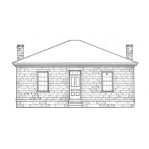 Line art of Lewis House featuring all brick walls, door casing mouldings, and two chimneys.