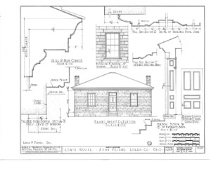 Blueprint of Lewis House front west elevation featuring all brick walls, door casing mouldings, and two chimneys.
