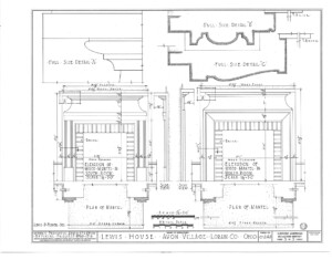 Blueprint of Lewis House fireplace mantel mouldings featuring cornice mouldings, mantel mouldings, and panel molds.