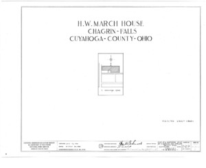 Blueprint cover page by the American Building Survey describing the March House erection date, address, and architect information.