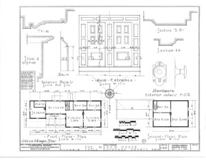 Blueprint of March House first floor plan, second floor plan, and main entrance.