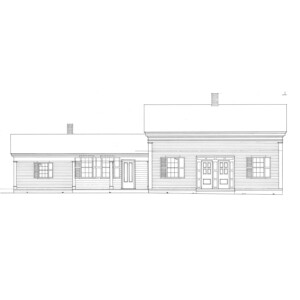 Line art of March House featuring shingle siding, windows with shutters, door casing, and covered front porch with columns.