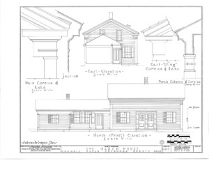 Blueprint of March House North elevation featuring east elevation, and exterior cornice mouldings.